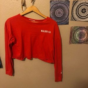 red Malibu California long sleeve crop top